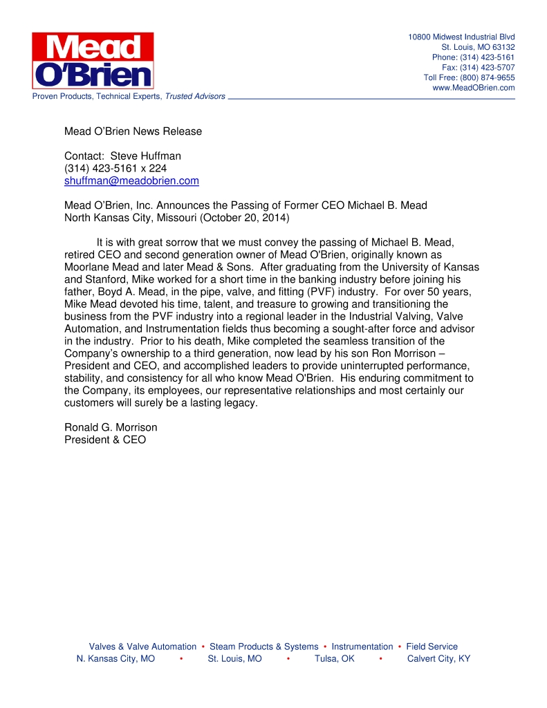 Mead obrien inc announces the passing of former ceo for Ceo press release template